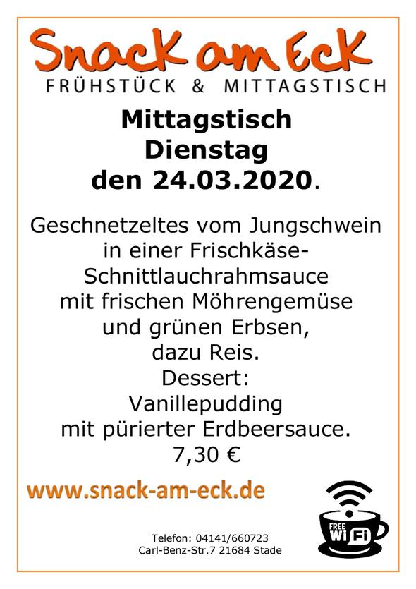 Mittagstisch am Dienstag den 24.03.2020: Geschnetzeltes vom Jungschwein in einer Frischkäse-Schnittlauchrahmsauce mit frischen Möhrengemüse und grünen Erbsen dazu Reis. Dessert: Vanillepudding mit pürierter Erdbeersauce. 7,30 €