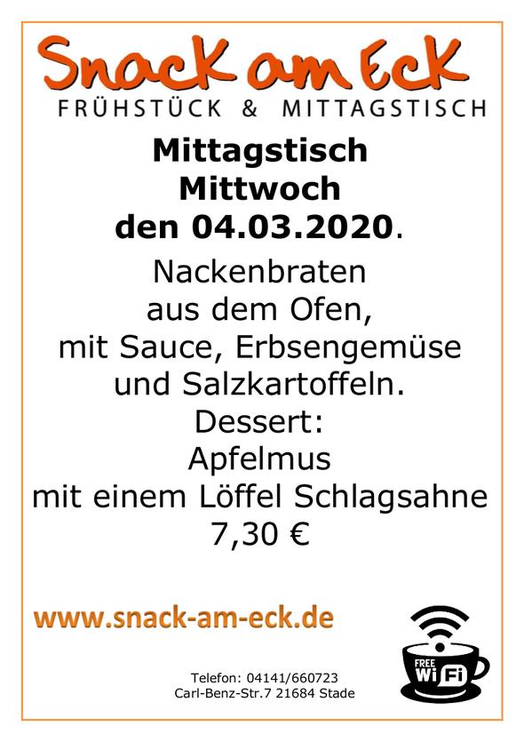 Mittagstisch am Mittwoch den 04.03.2020: Nackenbraten aus den Ofen, mit Sauce, Erbsengemüse und Salzkartoffeln. Dessert: Apfelmus mit einem Löffel Schlagsahne 7,30 €