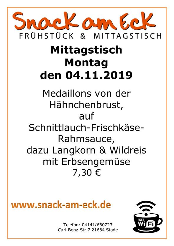 Mittagstisch am Montag den 04.11.2019: Medaillons von der Hähnchenbrust, auf Schnittlauch-Frischkäse-Rahmsauce, dazu Langkorn & Wildreis mit Erbsengemüse 7,30 €