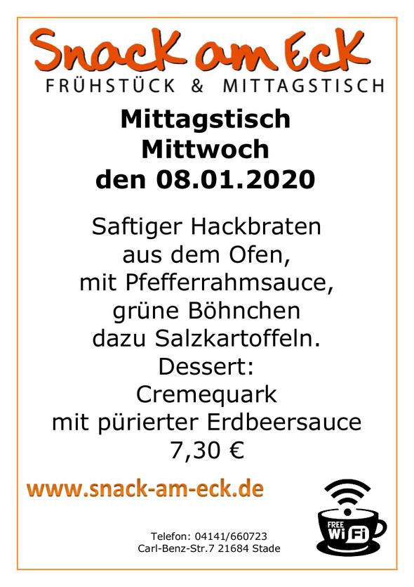Mittagstisch am mittwoch den 08.01.2020: Saftiger Hackbraten aus dem Ofen mit Pfefferrahmsauce, grüne Böhnchen dazu Salzkartoffeln. Dessert: Cremequark mit pürierter Erdbeersauce 7,30 €