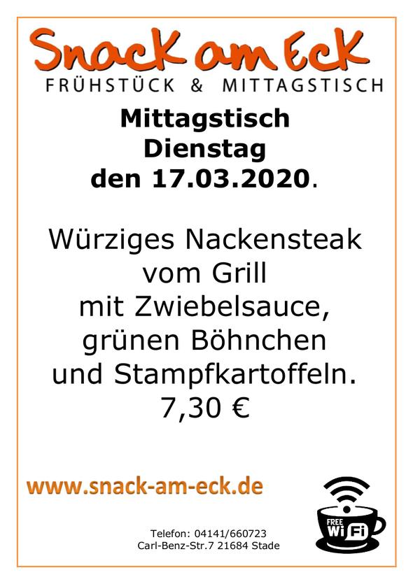 Mittagstisch am Dienstag den 17.03.2020: Würziges Nackensteak vom Grill mit Zwiebelsauce, grünen Böhnchen und Stampfkartoffeln. 7,30 €