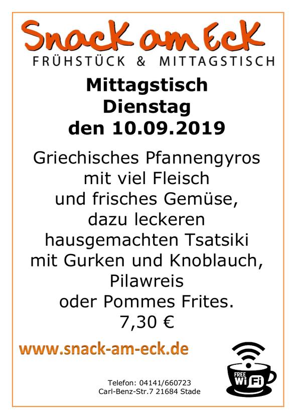 Mittagstisch am Dienstag den 10.09.2019: Griechisches Pfannengyros mit viel Fleisch und frisches Gemüse, dazu leckeren hausgemachten Tsatsiki mit Gurken und Knoblauch, Pilawreis oder Pommes Frites. 7,30 €