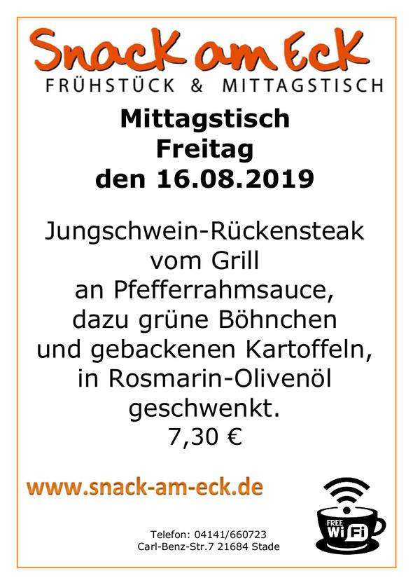 NMiottagstisch am Freitag den 16.08.2019: Jungschwein-Rückensteak vom Grill an Pfefferrahmsauce, dazu grüne Böhnchen und gebackenen Kartoffeln, in Rosmarin-Olivenöl geschwenkt. 7,30 €