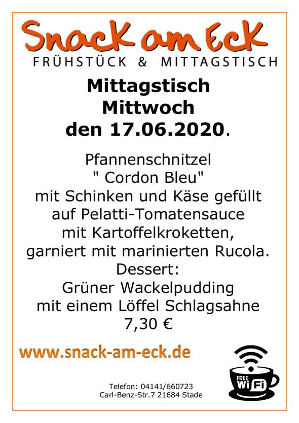 """Mittagstisch am Dienstag den 17.06.2020: Pfannenschnitzel """" Cordon Bleu"""" mit Schinken und Käse gefüllt auf Pelatti-Tomatensauce mit Kartoffelkroketten, garniert mit marinierten Rucola. Dessert: Grüner Wackelpudding mit einem Löffel Schlagsahne 7,30 €"""