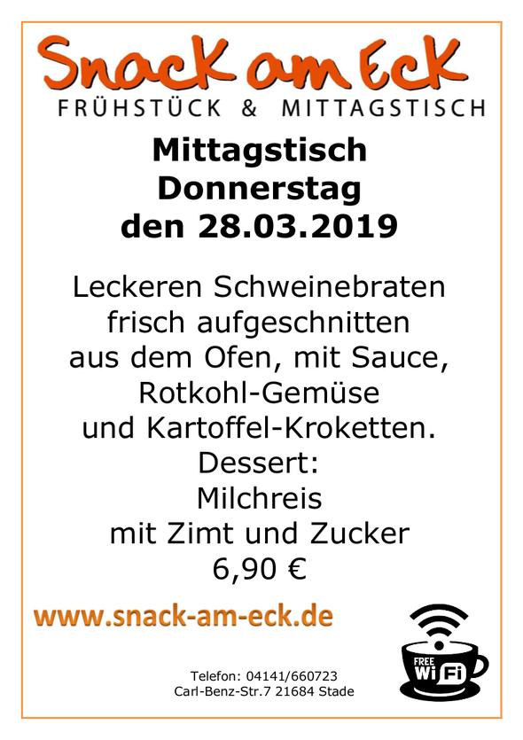 Mittagstisch am Donnerstag den 28.03.2019: Leckeren Schweinebraten frisch aufgeschnitten aus dem Ofen, mit Sauce, Rotkohl-Gemüse und Kartoffel-Kroketten. Dessert: Milchreis mit Zimt und Zucker 6,90 €
