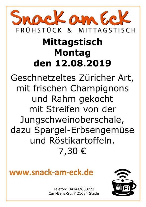 Mittagstisch am montag den 12.08.2019: Geschnetzeltes Züricher Art, mit frischen Champignons und Rahm gekocht mit Streifen von der Jungschweinoberschale, dazu Spargel-Erbsengemüse und Röstikartoffeln. 7,30 €