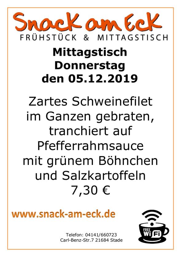 Mittagstisch am Donnerstag den 05.12.2019: Zartes Schweinefilet im Ganzen gebraten, tranchiert auf Pfefferrahmsauce mit grünem Böhnchen und Salzkartoffeln 7,30 e