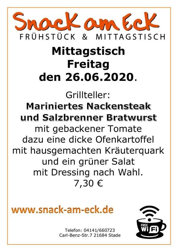 Mittagstisch am Freitag den 26.06.2020: Grillteller: Mariniertes Nackensteak und Salzbrenner Bratwurst mit gebackener Tomate dazu eine dicke Ofenkartoffel mit hausgemachten Kräuterquark und ein grüner Salat mit Dressing nach Wahl. 7,30 €