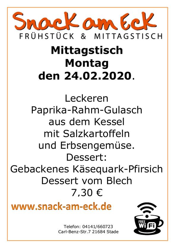 Mittagstisch am Montag den 24.02.2020: Leckeren Paprika-Rahm-Gulasch aus dem Kessel mit Salzkartoffeln und Erbsengemüse. Dessert: Gebackenes Käsequark-Pfirsich Dessert 7,30 €