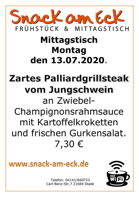 Mittagstisch am Montag den 13.07.2020: Zartes Palliardgrillsteak vom Jungschwein an Zwiebel- Champignonsrahmsauce mit Kartoffelkroketten und frischen Gurkensalat. 7,30 €