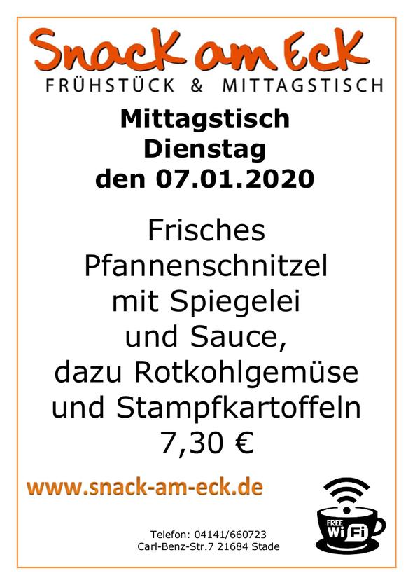 Mittagstisch am Dienstag den 07.01.2019: Frisches Pfannenschnitzel mit Spiegelei und Sauce, dazu Rotkohlgemüse und Stampfkartoffeln 7,30 €