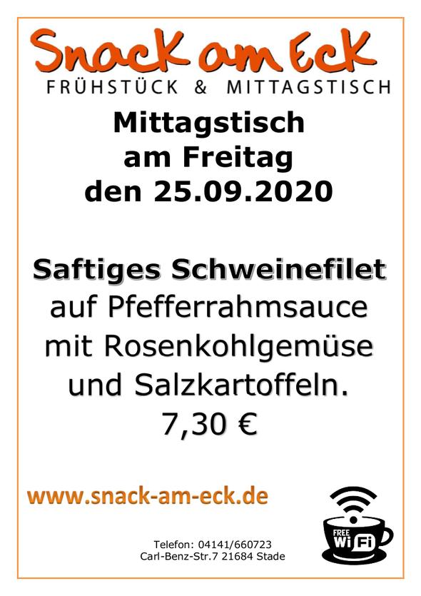 Mittagstsich am Freitag den 25.09.2020: Saftiges Schweinefilet auf Pfefferrahmsauce mit Rosenkohlgemüse und Salzkartoffeln. 7,30 €
