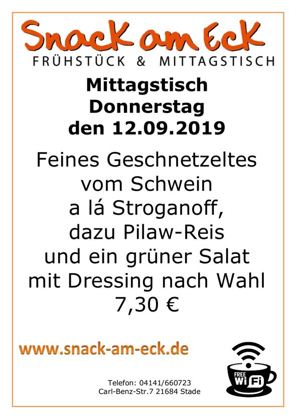 Mittagstisch am Donnerstag den 12.09.2019: Feines Geschnetzeltes vom Schwein a lá Stroganoff, dazu Pilaw-Reis und ein grüner Salat mit Dressing nach Wahl 7,30 €