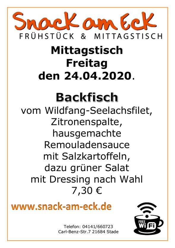 Mittagstisch am Fretiag den 24.,04.2020: Backfisch vom Wildfang-Seelachsfilet, Zitronenspalte,hausgemachte Remouladensauce mit Salzkartoffeln, dazu grüner Salat mit Dressing nach Wahl 7,30 €