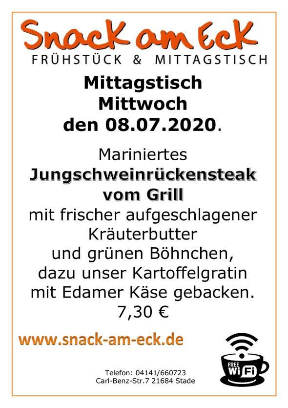 Mittagstisch am Mittwoch den 08.07.2020: Marniertes Jungschweinrückensteak vom Grill mit frischer aufgeschlagener Kräuterbutter und grünen Böhnchen, dazu unser Kartoffelgratin mit Edamer Käse gebacken.  7,30 €