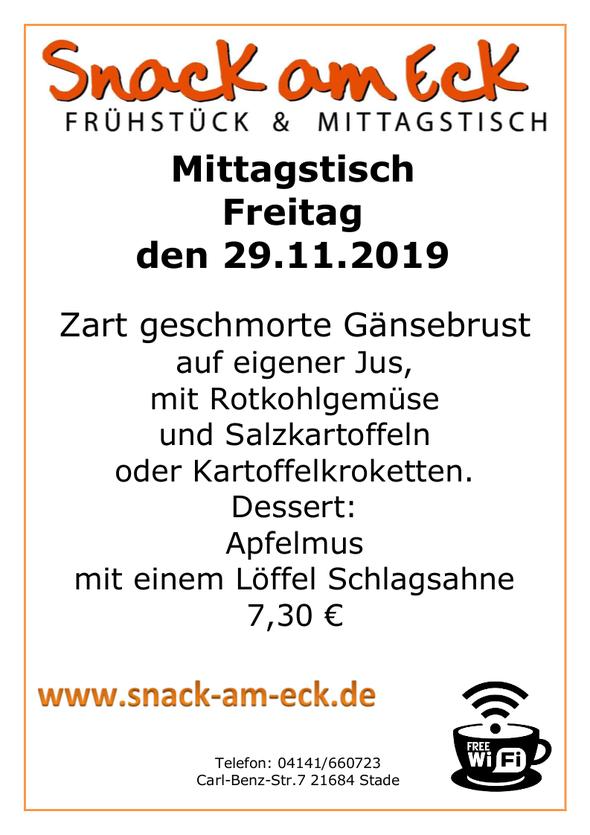 Mittagstisch am Freitag den 29.11.2019: Zart geschmorte Gänsebrust auf eigener Jus, mit Rotkohlgemüse und Salzkartoffeln oder Kartoffelkroketten. Dessert: Apfelmus mit einem Löffel Schlagsahne 7,30 €