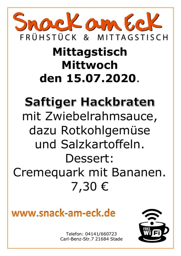 Mittagstisch am Mittwoch den 15.07.2020: Saftiger Hackbraten mit Zwiebelrahmsauce, dazu Rotkohlgemüse und Salzkartoffeln. Dessert: Cremequark mit Bananen. 7,30 €