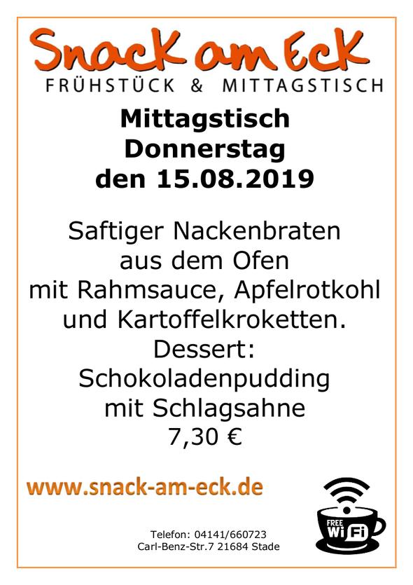 Mittagstisch am Donnerstag den 15.08.2019: Saftiger Nackenbraten aus dem Ofen mit Rahmsauce, Apfelrotkohl und Kartoffelkroketten. Dessert: Schokoladenpudding mit Schlagsahne 7,30 €
