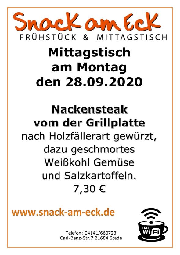 Mittagstisch am Montag den 28.09.2020: Nackensteak vom der Grillplatte nach Holzfällerart gewürzt, dazu geschmortes Weißkohl Gemüse und Salzkartoffeln. 7,30 €