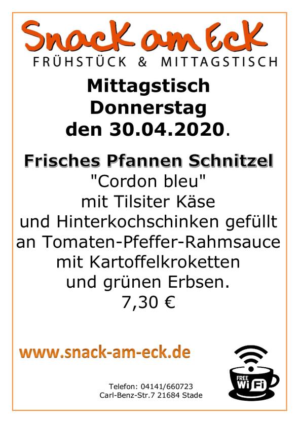 """Mittagstisch am donnerstag den 30.04.2020: Frisches Pfannen Schnitzel """"Cordon bleu"""" mit Tilsiter Käse und Hinterkochschinken gefüllt an Tomaten-Pfeffer-Rahmsauce mit Kartoffelkroketten mit grünen Erbsen. 7,30 €"""