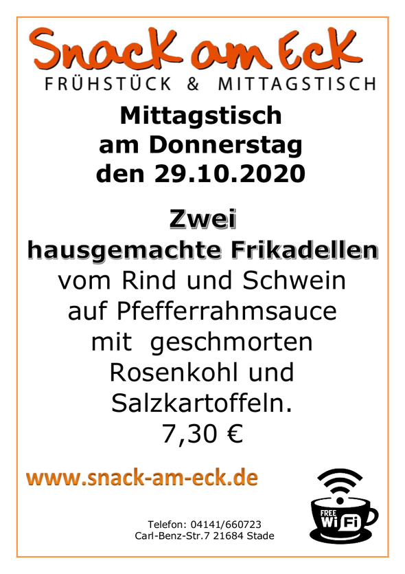 Mittagstisch am Donnerstag den 29.10.2020: Zwei hausgemachte  Frikadellen vom Rind und Schwein auf Pfefferrahmsauce mit  geschmorten Rosenkohl und Salzkartoffeln 👨🍳 7,30 €