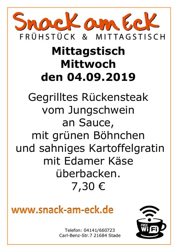 Mittagstisch am Mittwoch den 04.09.2019: Gegrilltes Rückensteak vom Jungschwein an Sauce mit grünen Böhnchen und sahniges Kartoffelgratin mit Edamer Käse überbacken. 7,30 €