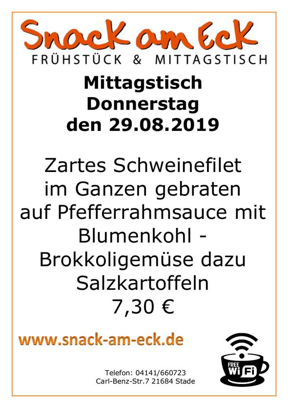 Mittagstisch am Donnerstag den 28.08.2019: Zartes Schweinefilet im Ganzen gebraten auf Pfefferrahmsauce mit Blumenkohl -Brokkoligemüse dazu Salzkartoffeln 7,30 €
