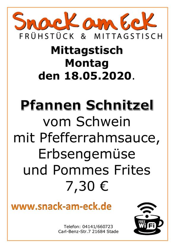 Mittagstisch am montag de  18.05.2020: Pfannen Schnitzel vom Schwein mit Pfefferrahmsauce, Erbsengemüse und Pommes Frites 7,30 €