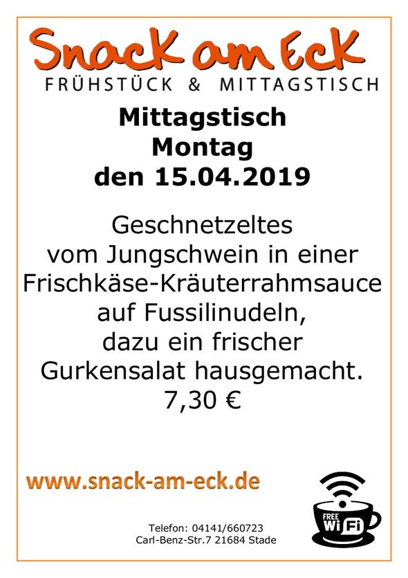 Mittagstisch am Montag den 15.04.2019: Geschnetzeltes vom Jungschwein in einer Frischkäse-Kräuterrahmsauce auf Fussilinudeln, dazu ein frischer Gurkensalat hausgemacht. 6,90 €