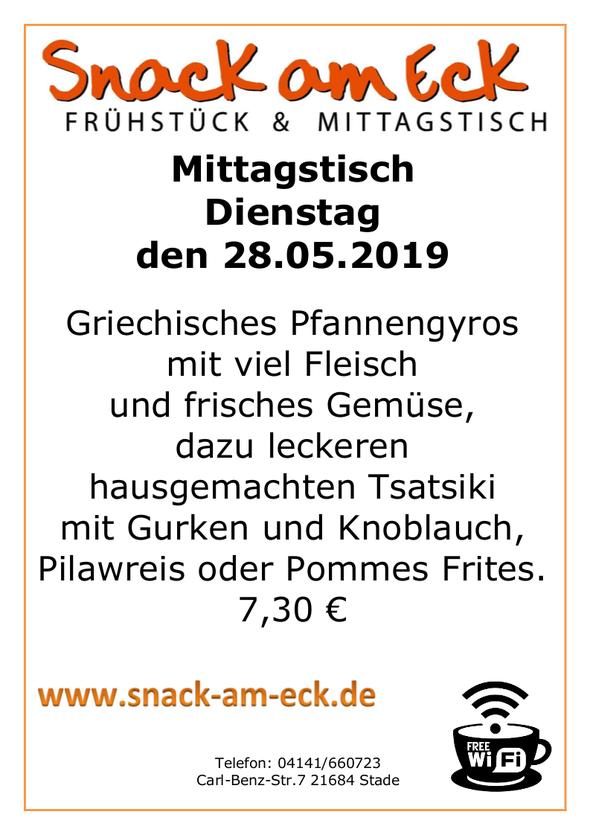 Mittagstisch am Dienstag den 28.05.2019: Griechisches Pfannengyros mit viel Fleisch und frisches Gemüse, dazu leckeren hausgemachten Tsatsiki mit Gurken und Knoblauch, Pilawreis oder Pommes Frites. 7,30 €
