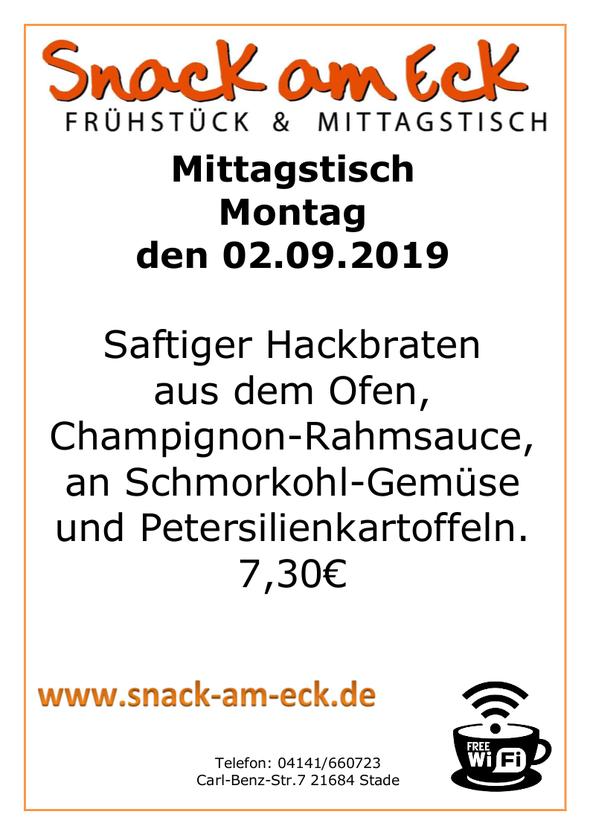 Mittagstisch am Montag den 02.0.2019: Saftiger Hackbraten aus dem Ofen mit Champignon-Rahmsauce, an Schmorkohl Gemüse und Petersilienkartoffeln.  7,30 €