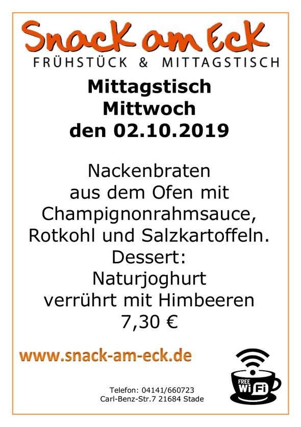 Mittagstisch am Mittwoch den 02.10.2019: Nackenbraten aus den Ofen mit Champignonrahmsauce, Rotkohl und Salzkartoffeln.  Dessert: Naturjoghurt verrührt mit Himbeeren 7,30 €