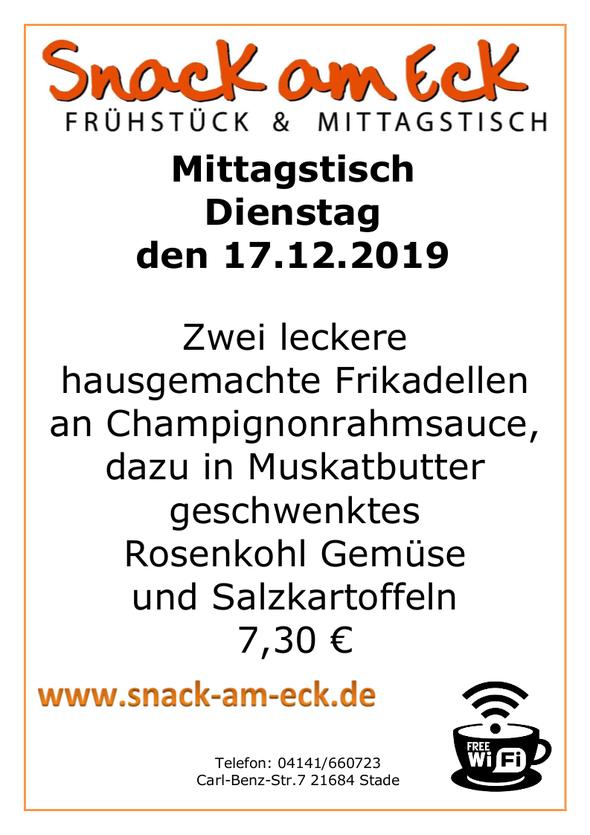 Mittagstisch am Dienstag den 17.12.2019: Zwei leckere hausgemachte Frikadellen an Champignonrahmsauce, dazu in Muskatbutter geschwenktes Rosenkohl Gemüse und Salzkartoffeln 7,30 €
