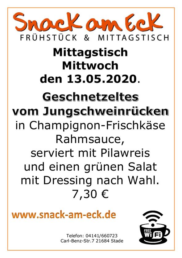 Mittagstisch am Mittwoch den 13.05.2020: Geschnetzeltes vom Jungschweinrücken in Champignon-Frischkäse Rahmsauce, serviert mit Pilawreis und einen grünen Salat mit Dressing nach Wahl. 7,30 €