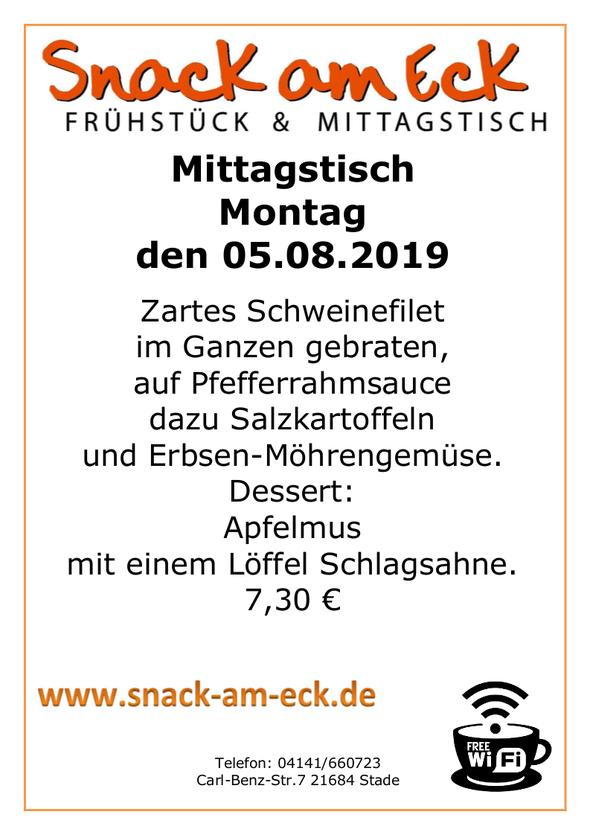 Mittagstisch am montag den 05.08.2019: Zartes Schweinefilet im Ganzen gebraten, auf Pfefferrahmsauce dazu Salzkartoffeln und Erbsen-Möhrengemüse. Dessert: Apfelmus mit einem Löffel Schlagsahne. 7,30 €