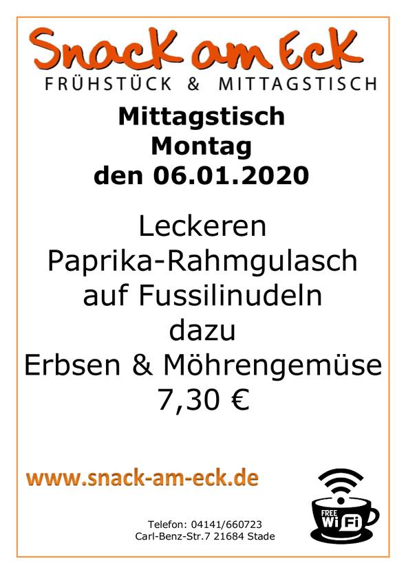 Mittagstisch am Montag den 06.01.2019: Leckeren Paprika-Rahmgulasch auf Fussilinudeln dazu Erbsen & Möhrengemüse 7,30 €