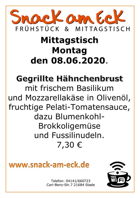 Mittagstisch am Montag den 08.06.2020: Gegrillte Hähnchenbrust mit frischem Basilikum und Mozzarellakäse, fruchtige Pelati-Tomatensauce, dazu Blumenkohl-Brokkoligemüse und Fussilinudeln. 7,30 €