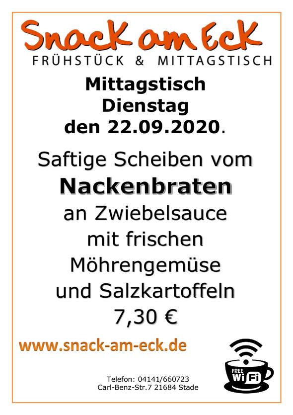 Mittagstisch am Dienstag den 22.09.2020: Saftige Scheiben vom Nackenbraten an Zwiebelsauce mit frischen Möhrengemüse und Salzkartoffeln 7,30 €