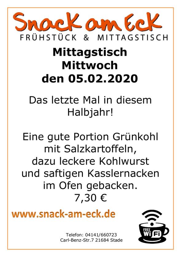 Mittagstisch am Mittwoch den 05.02.2020: Das letzte mal in diesem Halbjahr! Eine gute Portion Grünkohl mit Salzkartoffeln, dazu leckere Kohlwurst und saftigen Kasslernacken im Ofen gebacken. 7,30 €