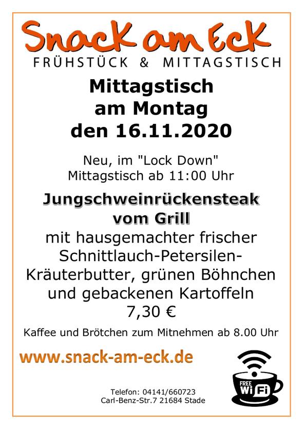 Mittagstisch am Montag den 16.11.2020: Jungschweinrückensteak vom Grill mit hausgemachter frischer Schnittlauch-Petersilen-Kräuterbutter, grünen Böhnchen und gebackenen Kartoffeln  7,30 €