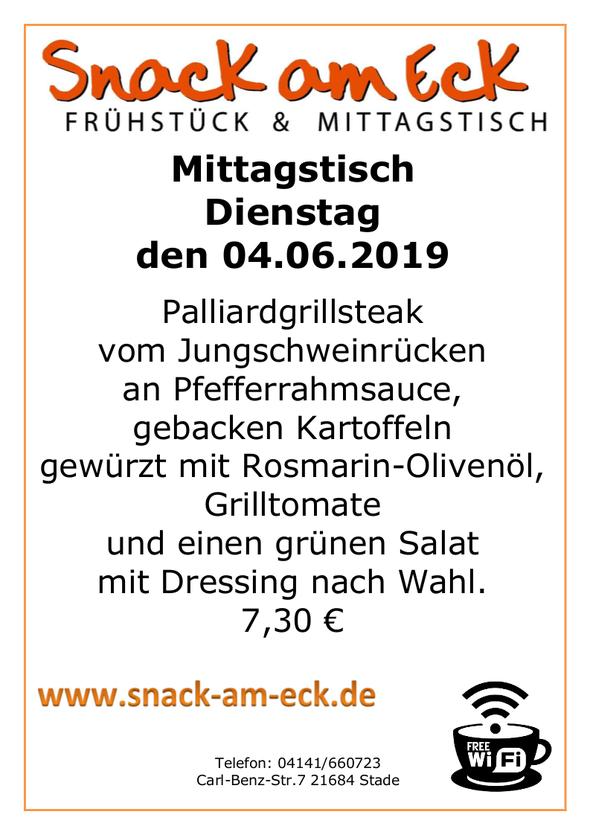 Mittagstisch am Dienstag den 04.06.2019: Palliardgrillsteak vom Jungschweinrücken an Pfefferrahmsauce, gebacken Kartoffeln gewürzt mit Rosmarin-Olivenöl, Grilltomate und einen grünen Salat mit Dressing nach Wahl. 7,30 €