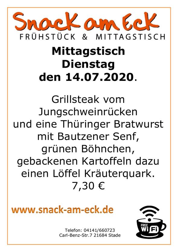 Mittagstisch am Dienstag den 14.07.2020: Grillsteak vom Jungschweinrücken und eine Thüringer Bratwurst mit Bautzener Senf, grünen Böhnchen, gebackenen Kartoffeln dazu einen Löffel Kräuterquark. 7,30 €