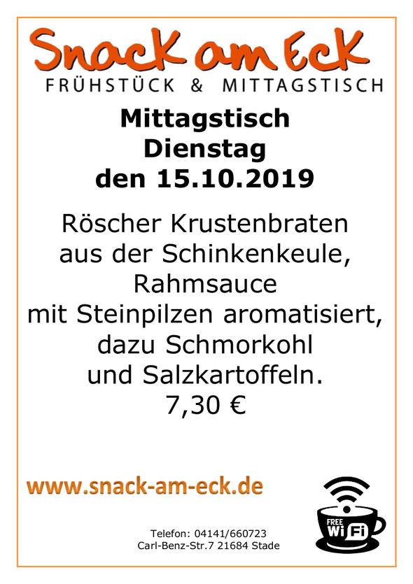 Mittagstisch am Dienstag den 15.10.2019: Röscher Krustenbraten aus der Schinkenkeule, Rahmsauce mit Steinpilzen aromatisiert, dazu Schmorkohl und Salzkartoffeln.  7,30 €
