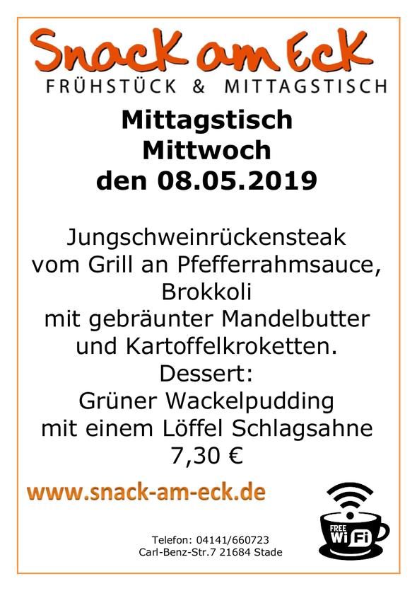 Mittagstisch am Mittwoch den 08.05.2019: Jungschweinrückensteak vom Grill an Pfefferrahmsauce mit Brokkoli mit gebräunter Mandelbutter und Kartoffelkroketten. Dessert: Grüner Wackelpudding mit einem Löffel Schlagsahne 6,90 €