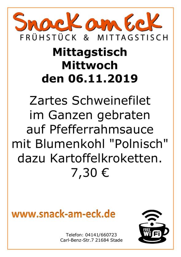 """Mittagstisch am Mittwoch den 06.11.2019: Zartes Schweinefilet im Ganzen gebraten auf Pfefferrahmsauce mit Blumenkohl """"Polnisch"""" dazu Kartoffelkroketten. 7,30 €"""
