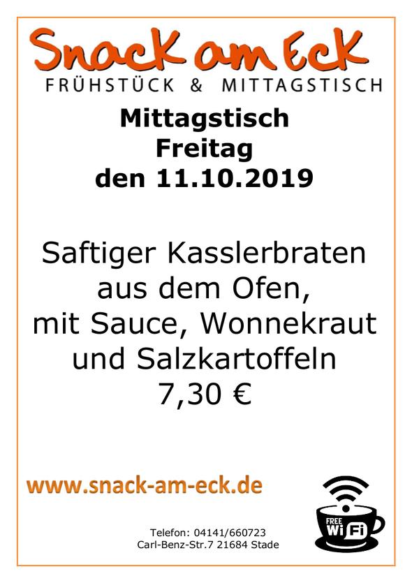 Mittagstisch am Freitag den 11.10.2019: Saftiger Kasslerbraten aus dem Ofen, mit Sauce, Wonnekraut und Salzkartoffeln 7,30 €