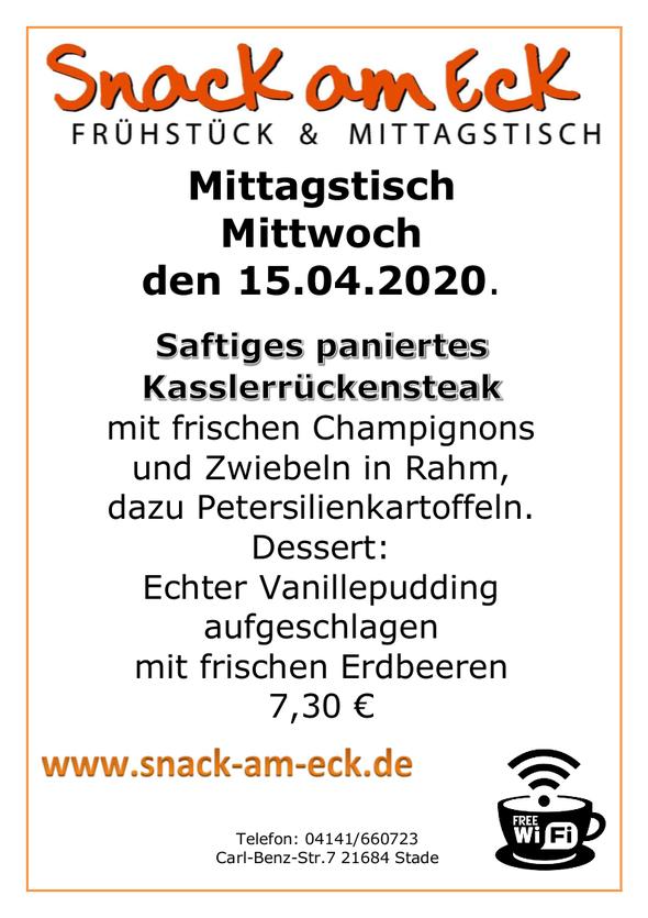 Mittagstisch am Mittwoch den 15.04.2020: Saftiges paniertes Kasslerrückensteak mit frischen Champignons und Zwiebeln in Rahm, dazu Petersilienkartoffeln. Dessert: Echter Vanillepudding aufgeschlagen mit frischen Erdbeeren 7,30 €