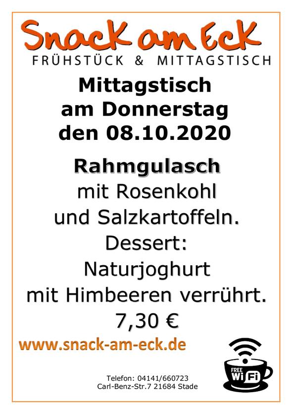 Mittagstisch am Donnerstag den 08.10.2020: Rahmgulasch mit Rosenkohl uns Salzkartoffeln. Dessert: Naturjoghurt mit Himbeeren verrührt. 7,30 €