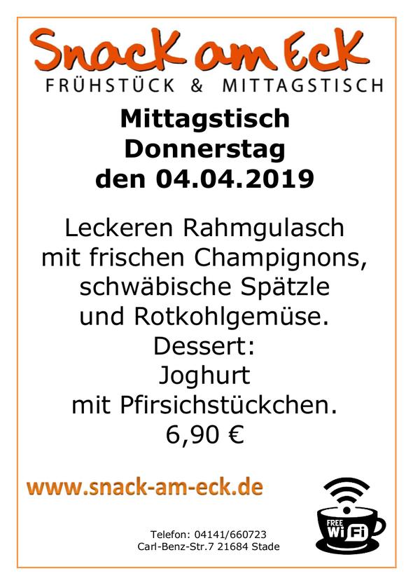 Mittagstisch am Donnerstag den 04.04.2019: Leckeren Rahmgulasch mit frischen Champignons, schwäbische Spätzle und Rotkohlgemüse. Dessert: Joghurt mit Pfirsichstückchen. 6,90 €