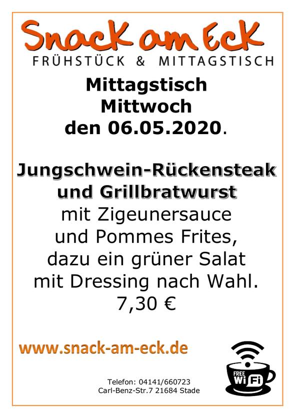 Mittagstisch am Mittwoch den 06.05.2020: Jungschwein-Rückensteak und Grillbratwurst mit Zigeunersauce mit Pommes Frites, dazu ein grüner Salat mit Dressing nach Wahl. 7,30 €